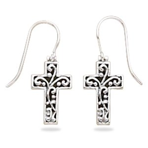 Filigree Cross Earrings on French Wire