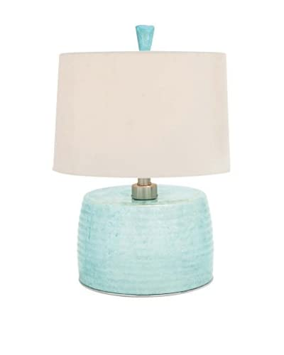 Glass & Metal Table Lamp, Blue