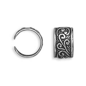 Sterling Silver Oxidized Earrings Cuffs With Floral Design Ear Cuffs Are 7mm and Sold In Pairs