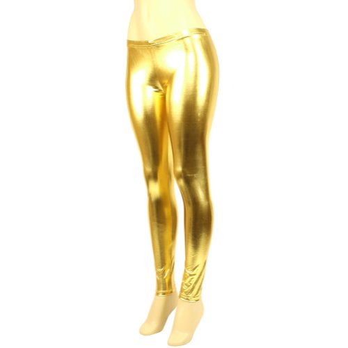 Shiny Metallic Full Leggings Stretchy Footless Gold