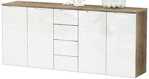 Demeyere 170409 Clio Range-Tout avec 4 Tiroirs/4 Portes MDF Chêne Brossé/Blanc Brillant 179,4 x 38,7 x 79,2 cm