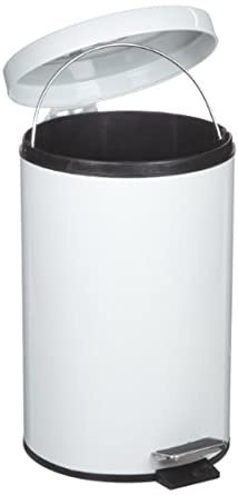 Rubbermaid Commercial FGMST35EPLRD Medi-Can Steel Step Trash Can with Plastic Liner, 3.5-gallon, White