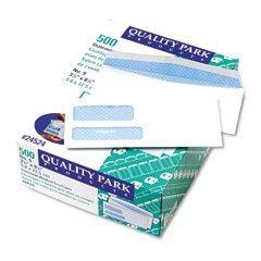 Quality Park 24524 Quality Park Security Tint Double Window Invoice Envelopes, #9, White, 500/Box