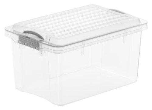 Aufbewahrungs-Box COMPACT mit Deckel, Lagerbox transparent aus Kunststoff im DIN A5 Format, Inhalt 4,5 Liter, Plastikkiste ca. 27 x 18,5 x 15 cm
