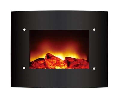 Wall Mountable Electric Fire with Black Curved Glass Screen