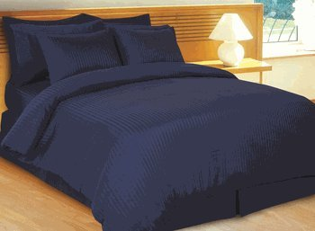 Details for Stripes Navy 600 Thread Count King Size 8pc Bed In A Bag Comforter Set 100% Egyptian Cotton Including 1-sateen Stripe Duvet Cover, 2-matching Pillow Shams, 1-white Down Alternative Comforter, 1-fitted Sheet, 1-flat Sheet And 2 Pillow Cases (everything 600