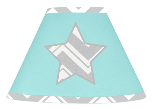 Turquoise and Gray Chevron Zig Zag Lamp Shade by Sweet Jojo Designs - 1