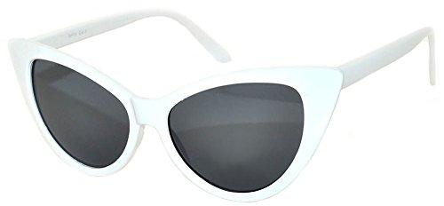 Ladies Cat Eye Vintage Wayfarer Smoke Lens Sunglasses White Frame