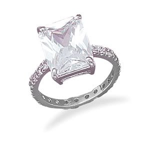 Sterling Silver Rhodium Plated 10x13 CZ with CZ Band Ring / Size 7