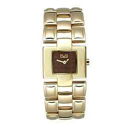 D&G Dolce & Gabbana Quotes Gold IP Brown  Dial Women's Watch #DW0475