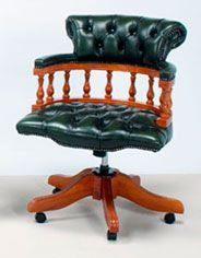 Captains Leather Swivel Office Chair Available In 3 Colours.