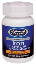 Vitamin Shoppe - Iron W/Vitamin C B12 Folic Acid And Copper, 100 tablets