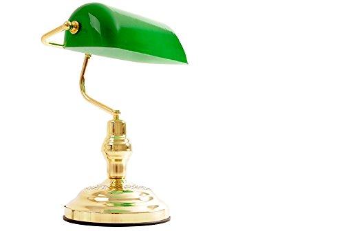 Lampe de bureau banquier avec abat jour en verre vert - Lampe de bureau banquier laiton verre vert ...