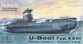 U-boot Type XXIII. En plastique injecté avec pièces en résine et pièces photodécoupées.