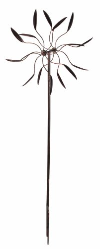 Panacea 88862 Kinetic Art Windmill with Dual Leaf Spinner, 60-Inch Height, Bronze Finish