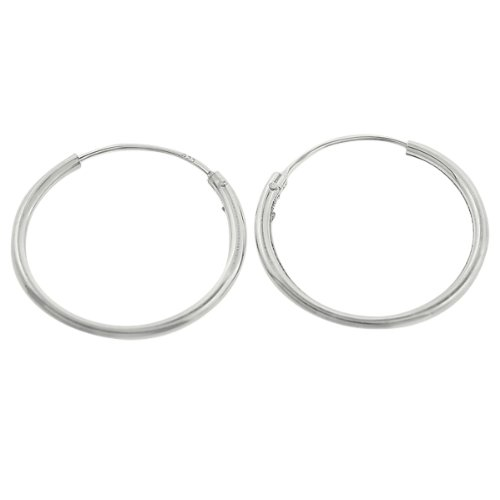 Sterling Silver Endless 1.25mm x 20mm Gauge Plain Hoop Earrings