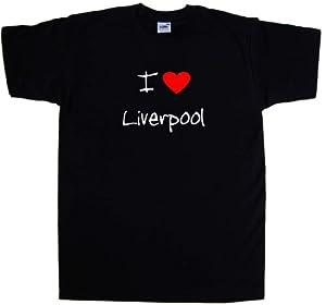 I Love Heart Liverpool Black T-shirt White Red Print-large
