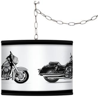 Hit the Road Custom Giclee Swag Style Plug-In Chandelier
