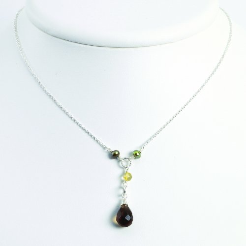 Sterling Silver FW Cultured Pearl/Smokey Quartz/Yellow Jade Necklace. 16in long.