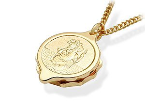 Gold Plated St. Christopher SOS Talisman Pendant And Chain