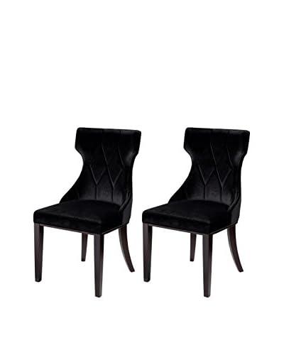 International Design Reine Set of 2 Dining Chairs, Midnight Black