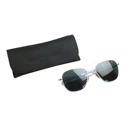 american aviator sunglasses j26c  American Optical Flight Gear Original Pilot Sunglasses, 52mm lens, Matte  Chrome Frame, True