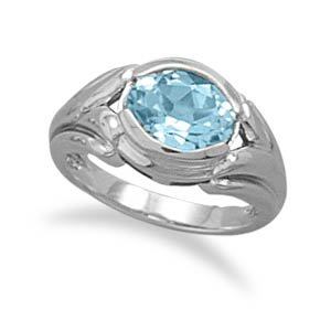 Sterling Silver Oxidized Oval Blue Topaz Ring / Size 8