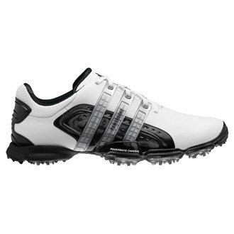Adidas Mens Powerband 4.0 Golf Shoes (White/Black) 2012 Mens Wht/Blk/Met Silv 9.5 Reg Mens Wht/Blk/Met Silv 9.5 Reg