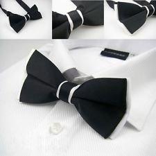 Dan Smatree Fashion Tuxedo Bow tie Men's Wedding Party Adjustable Black Silk