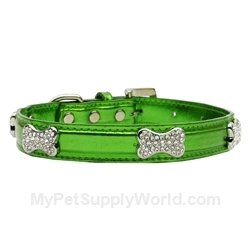 Metallic Crystal Bone Collars - Emerald Green, Extra Small