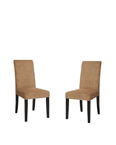 Armen Living Set of 2 Side Chairs, Tobacco