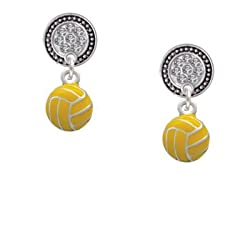 Mini Water Polo Ball Clear Crystal Silver Disc Lulu Post Earrings [Jewelry]