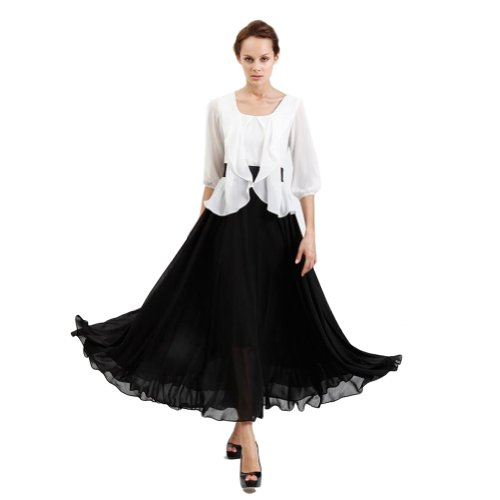 New Womens 3/4 Sleeves Layered Look Chiffon Dress (Large, White+black)