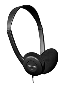 Maxell 190319 HP-100 Lightweight Stereo Headphones, Black