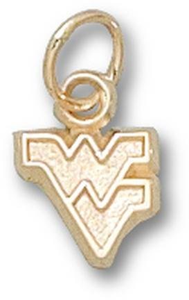West Virginia Mountaineers Outlined WV 1 4 Charm - 14KT Gold Jewelry by Logo Art