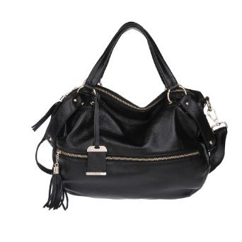 Carlo Dinah Women's Leather Korean Version of the Rivet Package Tassel Zipper Shoulder Strap Handbag Black