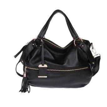 Carlo Dinah Women's Leather Korean Version of the Rivet Package Tassel Zipper Shoulder Strap Handbag Black