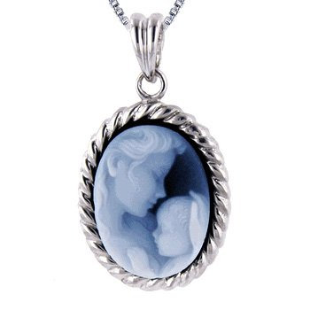Sterling Silver Oval Frame 16x12mm Blue Agate Mother and Baby Cameo Pendant W/18″ Chain