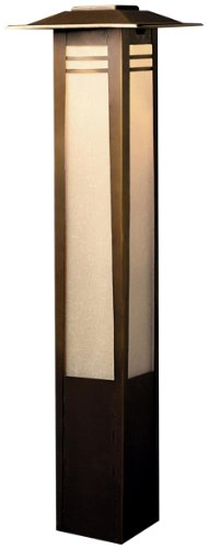 15392Oz Zen Garden Bollard 1Lt Incandescent/Led Hybrid Low Voltage Landscape Path And Spread Light, Olde Bronze Finish With Textured Amber Seedy Linen Glass