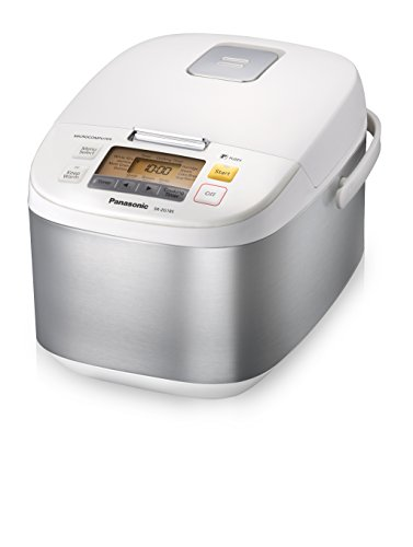 Panasonic 10 Cup (Uncooked) Microcomputer Controlled Rice Cooker, Stainless Steel/White