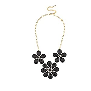 Lux Accessories Floral Design Statement Necklace Black