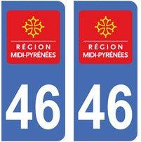 2-autocollants-46-Lot-plaque-immatriculation-dpartement-auto-46-angles-arrondis