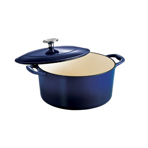 Tramontina Enameled Cast Iron Covered Round Dutch Oven, 5.5-Quart, Gradated Cobalt