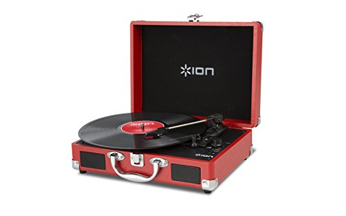 Best Deals! Ion Audio Vinyl Motion 3-Speed Belt Drive Suitcase Turntable with Built-In Speakers, Red