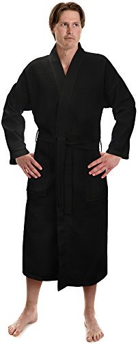 Men's Waffle Kimono Robes Spa Bathrobe Made in Turkey (One Size, Black)