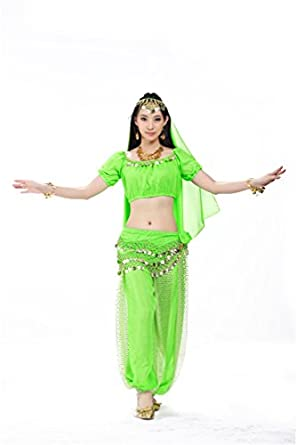 Dreamspell Fashion Fruit Green Professional Dancing Suit Belly Dance Costumes