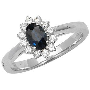Unique Wishlist 9ct White Gold Sapphire & 23pt Diamond Oval Cluster Ring