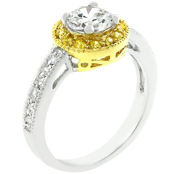 White Gold Rhodium and 14k Gold Bonded Anniversary Ring Featuring Round Cut Clear and Yellow Cz with Accented Milligrain in Goldtone and Silvertone Women Jewelry (5)