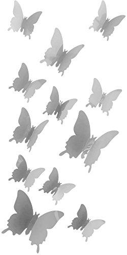 Schmetterlinge-in-3D-Wandsticker-mit-Klebepunkten-Wandtattoos-Farbe-Grau