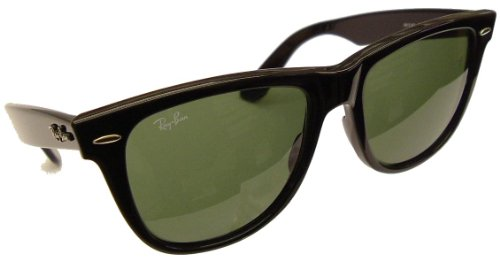 Ray-Ban 'Icons' Original Wayfarer Model 2140 Sunglasses - Black Frame with Ray Ban G-15 Safety Toughened Glass lenses - 54mm lens size
